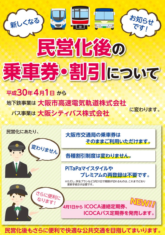 民営化後の乗車券・割引について 平成30年4月1日から、地下鉄事業は大阪市高速電気軌道株式会社に、バス事業は大阪シティバス株式会社に変わります。民営化にあたり、大阪市交通局の乗車券はそのままご利用いただけます。各種割引制度は変わりません。PiTaPaマイスタイルやプレミアムの再登録は不要です。ただし、学生プランなど3月31日で期限が切れるものは、これまでどおり更新手続きが必要です。4月1日から、ICOCA連絡定期券、ICOCAバス定期券を発売します。民営化後もさらに便利で快適な公共交通を目指してまいります。
