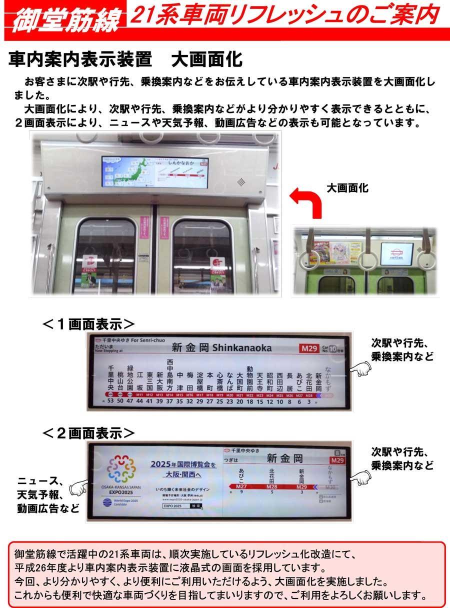 車内案内表示装置 大画面化 お客さまに次駅や行先、乗換案内などをお伝えしている車内案内表示装置を大画面化し ました。 大画面化により、次駅や行先、乗換案内などがより分かりやすく表示できるとともに、 2画面表示により、ニュースや天気予報、動画広告などの表示も可能となっています。 御堂筋線で活躍中の21系車両は、順次実施しているリフレッシュ化改造にて、 平成26年度より車内案内表示装置に液晶式の画面を採用しています。 今回、より分かりやすく、より便利にご利用いただけるよう、大画面化を実施しました。 これからも便利で快適な車両づくりを目指してまいりますので、ご利用をよろしくお願いします。